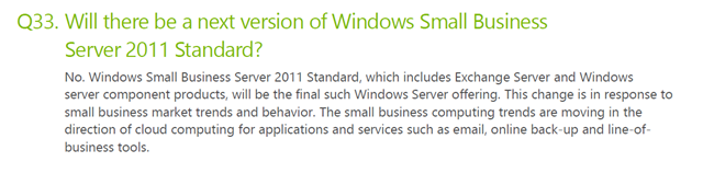 Windows SBS Standard descontinuado