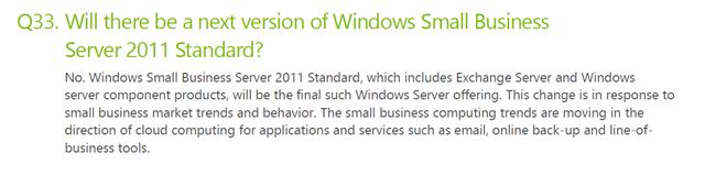 Windows SBS Standard descontinuado